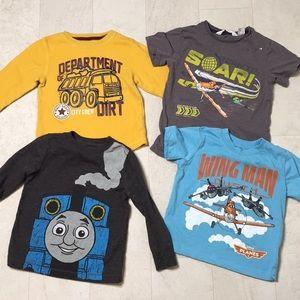 Lot 4 Boys Shirts Sz 2T Thomas Construction Planes